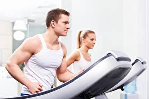 Bureaubladachtergronden Fitness Mannen Hardlopen Mouwloos shirt Sport Jonge_vrouwen