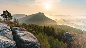 Pictures Forest Sunrise and sunset Germany Park Crag Fog Saxon Switzerland national Park