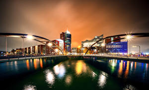 Wallpapers Germany Hamburg Building Rivers Bridge Night time