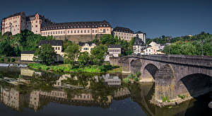 Pictures Germany Houses Rivers Bridge Castle Weilburg, Hessen