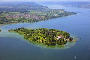 Sfondi desktop Germania Lago Isola Vista dall'alto lake Mainau, Bodensee Natura