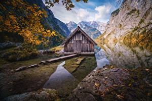 Picture Germany Mountains Lake Building Alps Reflected Trees Obersee Nature