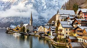 Bilder Hallstatt Österreich Gebäude See Gmunden County Städte