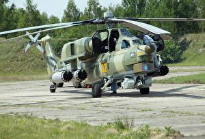 Images Helicopters Camouflage Russian Mi-28 Night hunter