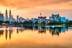 Papel de Parede Desktop Casa Tarde Malásia Lago Kuala Lumpur Taman Tasik Titiwangsa