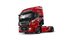 Bilder IVECO Lastkraftwagen Rot Weißer hintergrund 570X7, Scuderia Ferrari automobil