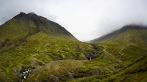 Fotos & Bilder Island Gebirge Steine Wasserfall Wolke Bach Natur
