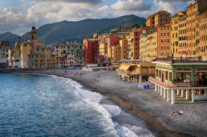Pictures Italy Sea Building Coast Liguria Beaches Camogli