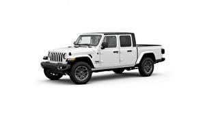 Fotos Jeep Weiß Pick-up Weißer hintergrund Seitlich Gladiator, 2020 Autos