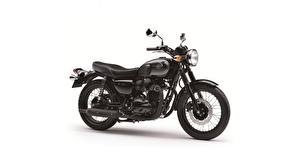Picture Kawasaki Black White background Side W 800 Motorcycles