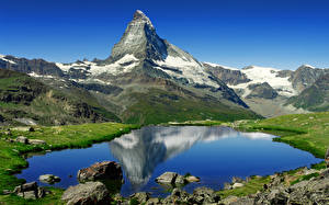 Image Lake Mountains Stones Switzerland Alps Matterhorn, Riffelsee Nature