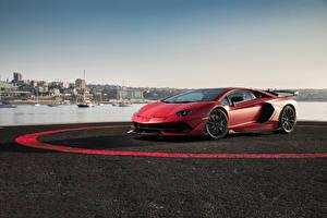 Images Lamborghini Red Aventador automobile