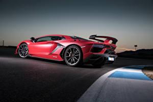 Pictures Lamborghini Red Side Aventador auto