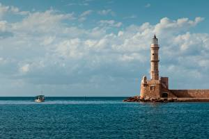 Wallpapers Lighthouses Sea Boats Greece Horizon Egyptian Lighthouse, Crete Cities