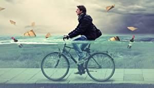 デスクトップの壁紙、、男性、水、自転車、