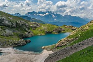 Bilder Gebirge See Russland Upper Kardyvach lake, Krasnodar region Natur