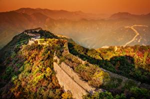 Wallpaper China Mountain Sunrises and sunsets The Great Wall of China Fog Wall Nature