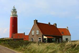 Обои Голландия Здания Маяк Траве island Texel