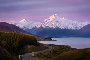 Wallpapers New Zealand Mountain Roads Lake Lake Pukaki, Mount Cook Nature