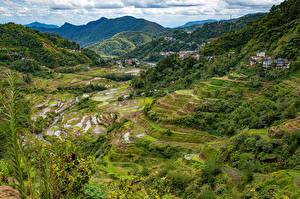 Sfondi desktop Filippine Montagna Campo agricolo Vista dall'alto Banaue rice terraces, Ifugao Natura