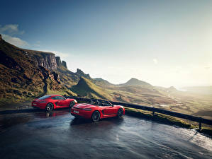 Wallpapers Porsche Red 2 Metallic 718 Cayman s, Boxster 718 red auto