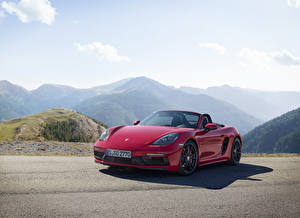 Picture Porsche Red Metallic Roadster Boxster Cars