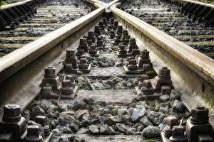 Fonds d'écran Chemin de fer En gros plan Pierres Rails