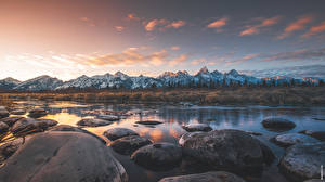 Photo Rivers Stones Mountains Park USA Evening Horizon Grand Teton national Park, Wyoming Nature