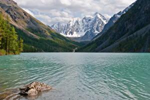 Hintergrundbilder Russland Gebirge See Wald Lower Shavlinskoe lake, mountain Altai Natur