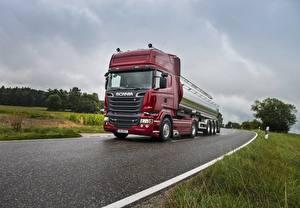 Fotos Scania Lastkraftwagen Straße Fahren R730 auto