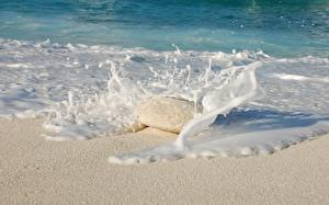 Picture Sea Stones Waves Water splash Sand Foam Nature