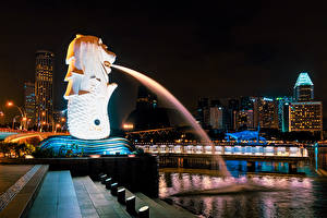Picture Singapore Building Sculptures Fountains Night time Stairs