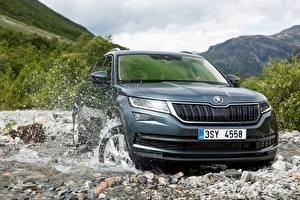 Pictures Skoda Stone Creek Water splash Black Metallic CUV Kodiaq automobile