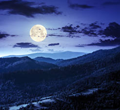 Pictures Sky Mountains Forest Night time Moon Clouds Nature