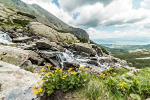 Wallpapers Slovakia Stones Grass Creek Tatra mountains Nature