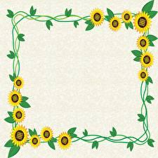 Bilder Sonnenblumen Blattwerk Vorlage Grußkarte Blüte