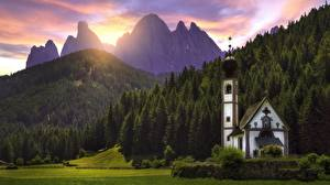 Image Sunrises and sunsets Mountain Forest Church Italy Alps Dolomites, Santa Maddalena