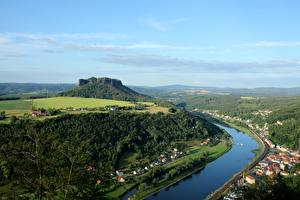 Pictures Switzerland Forest River From above Lilienstein, Elbe, Saxon Switzerland national Park Nature