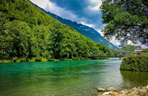 Pictures Switzerland Lake Mountains Forest Bridges Nature