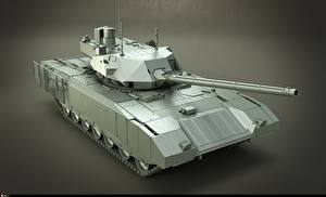 Wallpaper Tanks Gray background Russian T-14 Armata 3D_Graphics