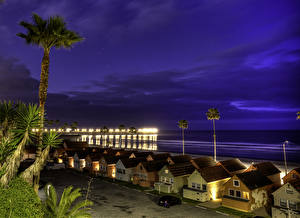 Images USA Coast Building Sky California Night time Oceanside