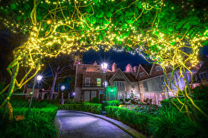 Photo USA Disneyland Park Houses California Anaheim Night time Street lights Fairy lights Shrubs HDRI Cities