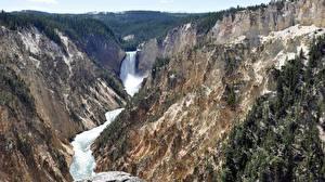 Fonds d'écran USA Parc Rivières Chute d'eau Yellowstone Falaise Wyoming