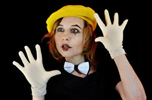Wallpapers Hands Glove Bow knot Beret Redhead girl Makeup Clowns Black background Victoria Borodinova, Mime artist young woman