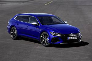 Pictures Volkswagen Blue Metallic Station wagon Arteon, R-Line, Shooting Brake Cars