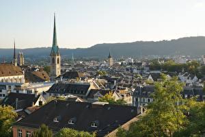 Картинки Цюрих Швейцария Церковь Дома Крыше Башни Города