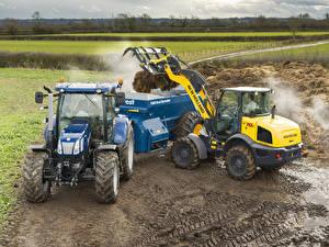 Hintergrundbilder Landwirtschaftlichen Maschinen Traktor New Holland W70C HS