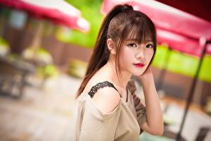 Images Asiatic Bokeh Brown haired Staring Hair female