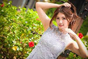 Fotos & Bilder Asiatische Bokeh Braunhaarige Blick Hand Lächeln Mädchens