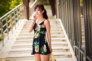 桌面壁纸,,亚洲人,散景,棕色的女人,手,连衣裙,年輕女性,